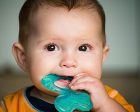 stock photo of teething baby  - Baby infant chewing on teething ring toy  - JPG