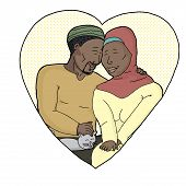 image of hijabs  - Happy bearded man with woman in hijab petting a cat - JPG