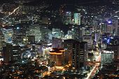 picture of seoul south korea  - Illuminated Seoul City in South Korea at night from high above - JPG