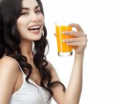 image of cold-shoulder  - closeup portrait of attractive asian smiling woman brunette isolated on white studio shot lips toothy smile face hair head and shoulders looking at camera tooth drinking orange juice - JPG