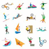 foto of ski boat  - Extreme sports icons set with people kiting cycling sailing skiing isolated vector illustration - JPG