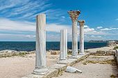 foto of sevastopol  - Ancient Greek basilica and marble columns in Chersonesus Taurica - JPG