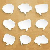 foto of bubble sheet  - Set of  speech bubbles on paper texture - JPG