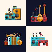 picture of drum-set  - Set of vector modern flat design musical instruments and music tools icons - JPG