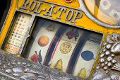 stock photo of slot-machine  - Old vintage slot machine close up view - JPG