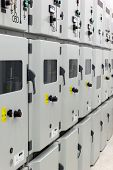 stock photo of substation  - Metal enclosed medium voltage electrical energy distribution substation - JPG