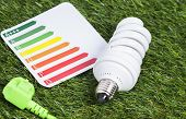 foto of cord  - Image shows a energy saving lamp with power cord on a green gras - JPG