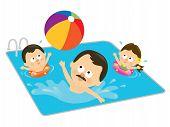 Постер, плакат: Отец и дети играют в бассейне испаноязычные