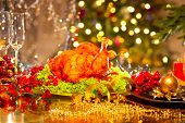 image of turkey dinner  - Christmas table setting with turkey - JPG