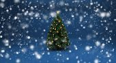foto of sleet  - Realistic beautiful snow on a blue background with Christmas tree - JPG