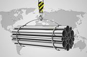 stock photo of crane hook  - 3d generated picture of metal tubes on a crane hook - JPG