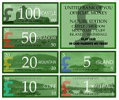 image of british pound sterling note  - British pound play money with nature theme - JPG