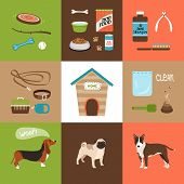 picture of dog poop  - Dogs and dog accessories icons in a flat style - JPG
