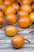 image of sea-buckthorn  - Sea buckthorn (Hippophae rhamnoides) barries on wooden table.