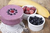 picture of strawberry  - Smoothies of frozen strawberries blueberries and banana with yogurt - JPG