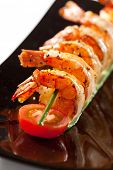 foto of tiger prawn  - Fried Prawns Dish with Cherry Tomato - JPG