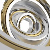 picture of friction  - Isolated realistic whirling bearing in the bearing with light scratches on a white background - JPG