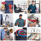 picture of plumber  - Plumber man with tools in the kitchen - JPG