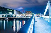 stock photo of copenhagen  - Teglvaerksbroen bridge in Copenhagen with sea infrastructure - JPG