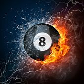 image of pool ball  - Pool Billiards Ball in Fire  - JPG