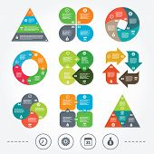 stock photo of sack dollar  - Circle and triangle diagram charts - JPG