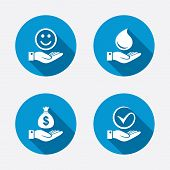 foto of holding money  - Smile and hand icon - JPG