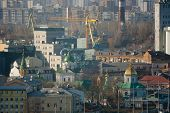 stock photo of kiev  - Kiev business and industry city landscape on river bridge and buildings - JPG