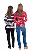 foto of side view people  - Back view of two young girl  - JPG