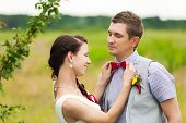 picture of bridal veil  - beautiful wedding couple in green nature landscape - JPG