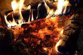 picture of ember  - Beech and birch firewood burning over decaying coals and ember in a fireplace - JPG