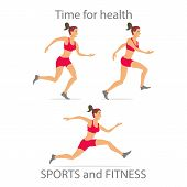 stock photo of surya  - Different poses sporty dancing girl in red sports pants black color short hairstyle - JPG