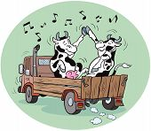 picture of moving van  - Vector illustration cartoon of two happy cows dancing on top of a van - JPG