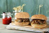 picture of sandwich  - Tasty sandwich on cutting board - JPG