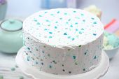 picture of cake stand  - Birthday decorated cake on stand - JPG