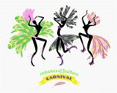 stock photo of brazil carnival  - Illustration of dancing women in carnival costumes of feathers - JPG