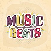 picture of beats  - Colorful text Music Beats on vintage background - JPG