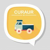 stock photo of food truck  - Truck Flat Icon With Long Shadow - JPG