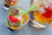 pic of sangria  - Refreshing white sangria (punch) with fruits picnic idea