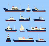 stock photo of passenger ship  - Ships set - JPG