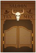 stock photo of texas star  - conceptual poster with image of western saloon representing mix of texas and mexican cultures - JPG