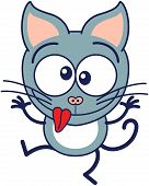 pic of cat-tail  - Cute gray cat in minimalistic style with pointy ears and long tail while raising its arms - JPG