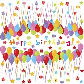 image of happy birthday  - happy birthday banner with balloons and stars - JPG