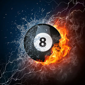 stock photo of pool ball  - Pool Billiards Ball in Fire  - JPG