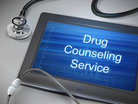 foto of counseling  - drug counseling service words display on tablet over table - JPG