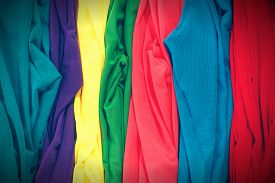image of panty-hose  - Colorful stockings in row with vignette effect - JPG