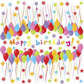 stock photo of happy birthday  - happy birthday banner with balloons and stars - JPG