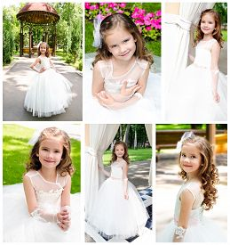 foto of little girls photo-models  - Collection of photos adorable smiling little girl in princess dress outdoor - JPG
