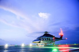 picture of helicopters  - helicopter parking landing on offshore platform - JPG