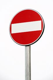 picture of no entry  - Prohibition or No Entry sign denying access to a specific area or route on a metal pole isolated on white - JPG