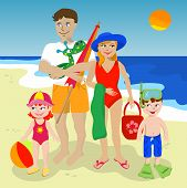 pic of family vacations  - Family of four enjoying summer at the beach - JPG